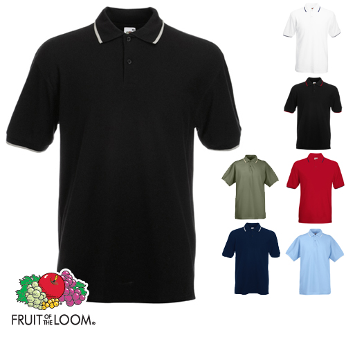 polo tipped poloshirt fruit of the loom s m l xl xxl ebay. Black Bedroom Furniture Sets. Home Design Ideas