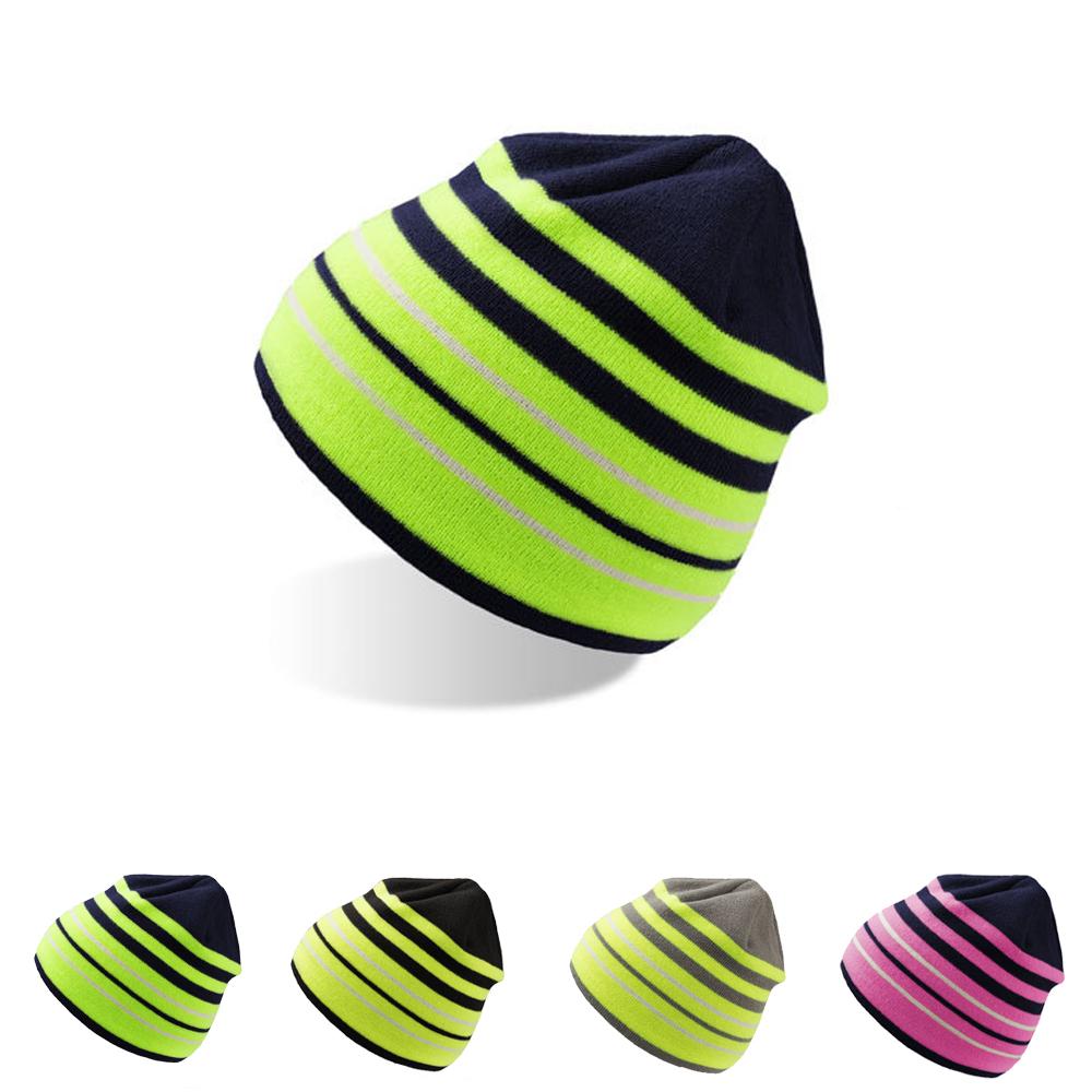 atlantis sport beanie m tze gewebt mit coolmax flacher schnitt gestreift neon ebay. Black Bedroom Furniture Sets. Home Design Ideas