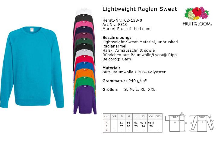 fruit of the loom herren raglan sweatshirt sweat lightweight neuware s xxl ebay. Black Bedroom Furniture Sets. Home Design Ideas